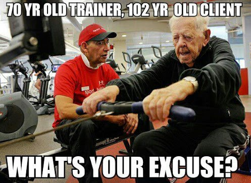 70 year old trainer, 102 year old client